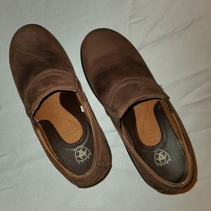 Ariat brown leather slip-on heeled comfort clogs